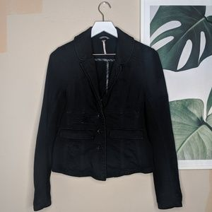 Free People 3 Buttons Blazer Career Jacket Black